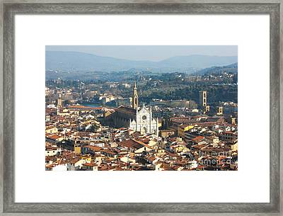 Florence With The Basilica Di Santa Croce Framed Print by Kiril Stanchev