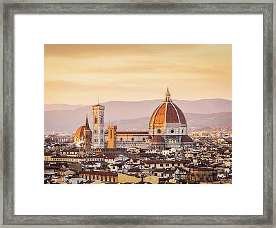 Florences Cathedral And Skyline At Framed Print by Filippobacci