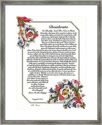 Florentine Desiderata Poster Framed Print by Desiderata Gallery