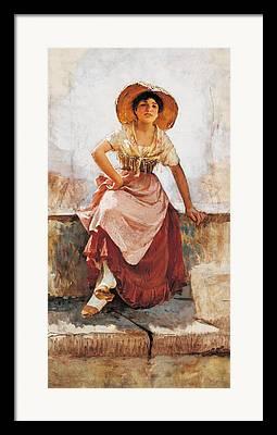 Girl In Pink Hat Paintings Framed Prints