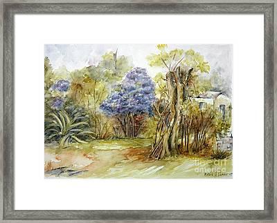 Flores Lilas Y Celestes II Framed Print