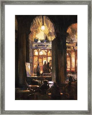 Florians Cafe Venice Framed Print by Jackie Simmonds
