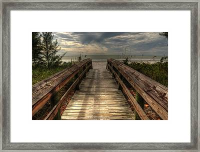 Framed Print featuring the pyrography Florida Beach Entrance With A Beautiful Sky by Julis Simo
