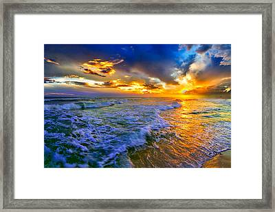 Florida Beach-golden Suntrail Sunset-rolling Sea Waves Framed Print