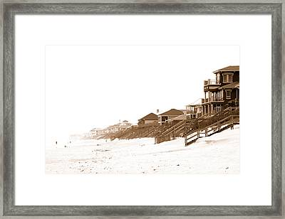 Framed Print featuring the photograph Florida Beach Sepia Print by Charles Beeler