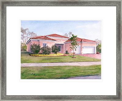 Florida House Watercolor Portrait Framed Print by Mike Theuer