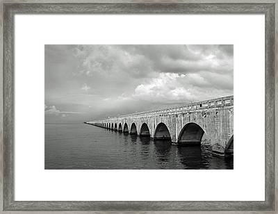 Florida Keys Seven Mile Bridge Black And White Framed Print