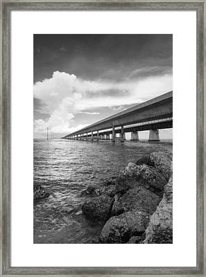 Florida Keys Seven Mile Bridge South Bw Vertical Framed Print