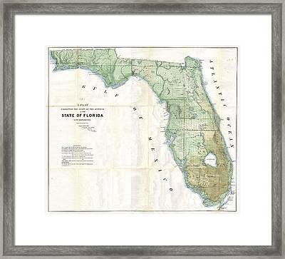 Florida Land Platt Map 1853 Framed Print by Suzanne Powers