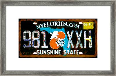 Florida License Plate Framed Print by Lanjee Chee