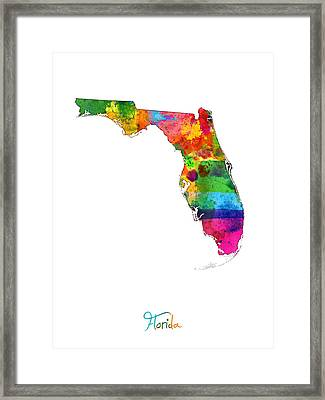 Florida Map Framed Print by Michael Tompsett