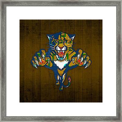 Florida Panthers Hockey Team Retro Logo Vintage Recycled Sunshine State License Plate Art Framed Print