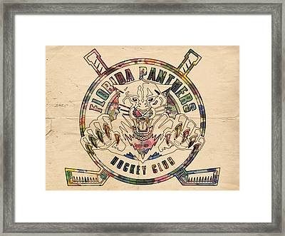 Florida Panthers Vintage Art Framed Print