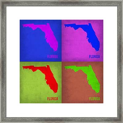 Florida Pop Art Map 1 Framed Print by Naxart Studio