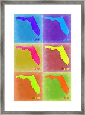 Florida Pop Art Map 2 Framed Print by Naxart Studio