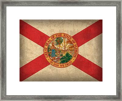 Florida State Flag Art On Worn Canvas Framed Print