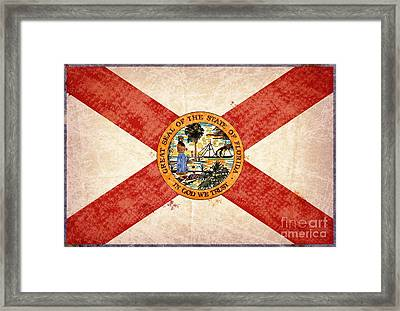 Florida State Seal And Flag. Framed Print by T Lang