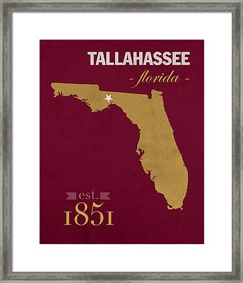 Florida State University Seminoles Tallahassee Florida Town State Map Poster Series No 039 Framed Print
