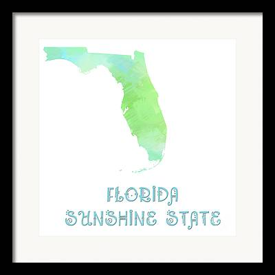 .florida - Sunshine State - Map - State Phrase - Geology Framed Prints