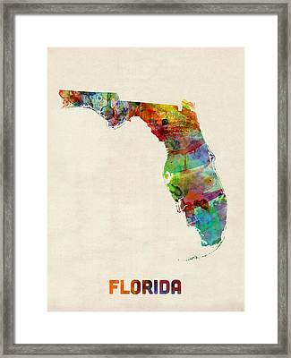 Florida Watercolor Map Framed Print by Michael Tompsett