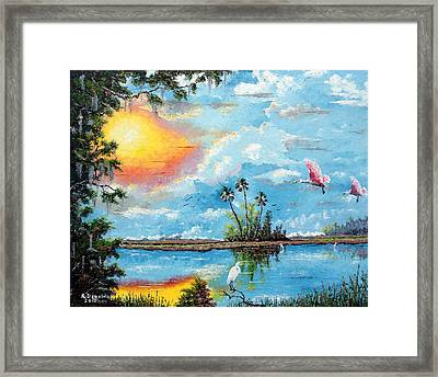 Florida Wilderness Oil Using Knife Framed Print by Riley Geddings