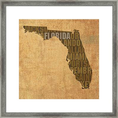 Florida Word Art State Map On Canvas Framed Print