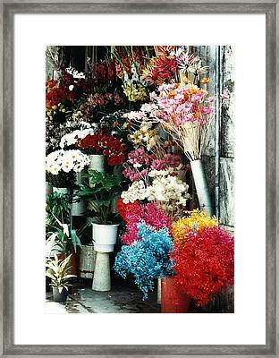 Florist In Athens Framed Print by Jacqueline M Lewis