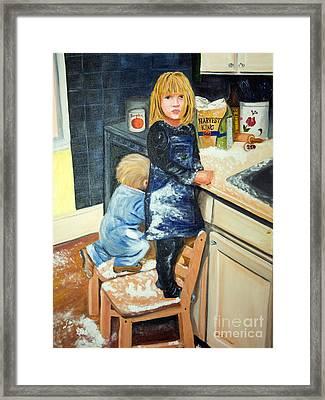 Flour Fight Framed Print by Iris Richardson