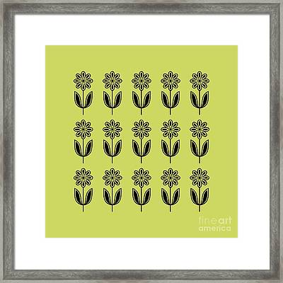 Flower 2 On Avocado Pillow Framed Print by Donna Mibus