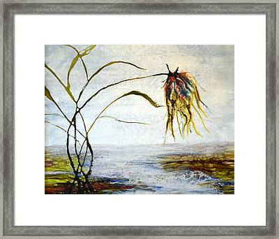 Flower And Babbling Brook Framed Print