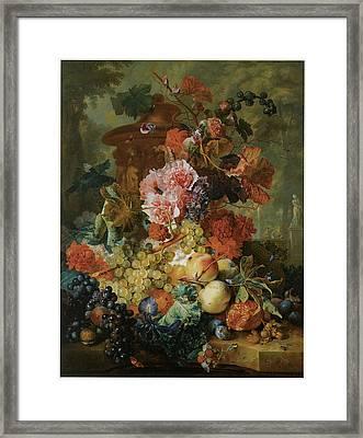 Flower And Fruit Piece Framed Print by Jan Van Huysum