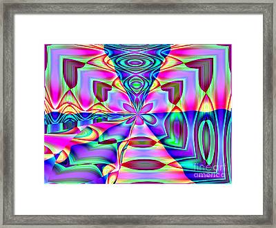 Framed Print featuring the digital art Flower And Hearts Modern Abstract Art Design by Annie Zeno
