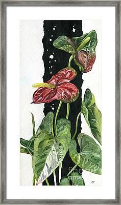 Framed Print featuring the painting Flower Anthurium 01 Elena Yakubovich by Elena Yakubovich