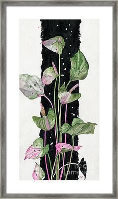 Framed Print featuring the painting Flower Anthurium 02 Elena Yakubovich by Elena Yakubovich