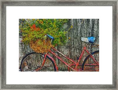 Flower Basket On A Bike Framed Print by Mark Kiver