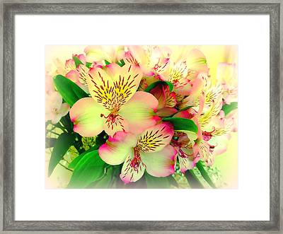 Flower Bouquet In Pink And Yellow Framed Print