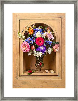 Flower Bouquet On Closed Niche Framed Print by Levin Rodriguez