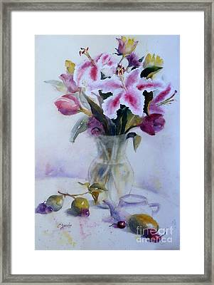 Flower Bouquet With Teapot And Fruit Framed Print