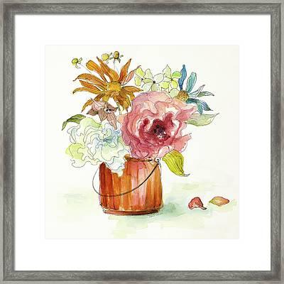 Flower Burst In Vase I Framed Print by Lanie Loreth