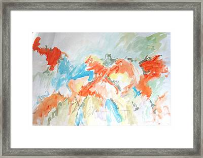 Framed Print featuring the painting Flower Bursts by Esther Newman-Cohen