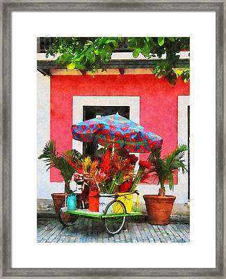Flower Cart San Juan Puerto Rico Framed Print by Susan Savad