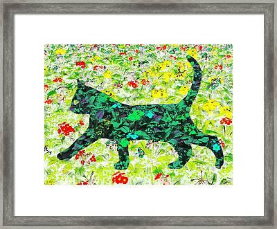 Flower Cat Framed Print by Barbara Moignard