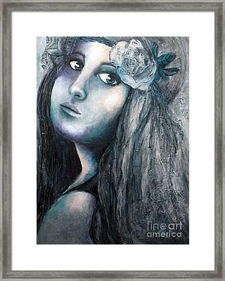 Girl With Flowers Framed Print by Home Art
