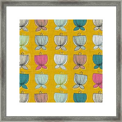 Flower Cups Yellow Framed Print by Sharon Turner