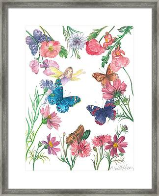 Flower Fairy Illustrated Butterfly Framed Print