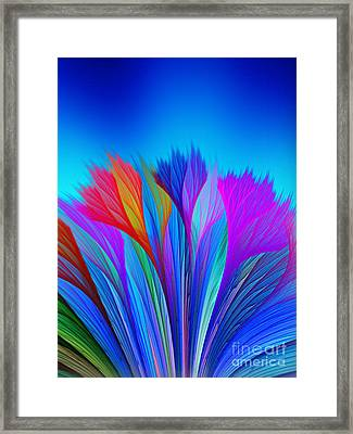 Flower Fantasy In Blue Framed Print