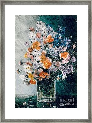 Framed Print featuring the painting Flower Field by Sorin Apostolescu