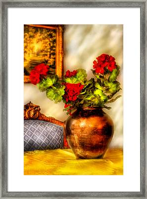 Flower - Geraniums On A Table  Framed Print by Mike Savad