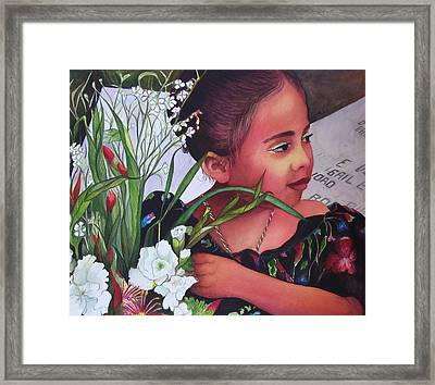 Flower Girl On Dia De Los Muertos Framed Print