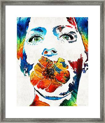 Flower Girl Self Portrait By Sharon Cummings Framed Print